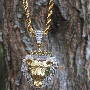Jewelry - 18k Gp 5mm Diamond Ahnk Chain & Pendant